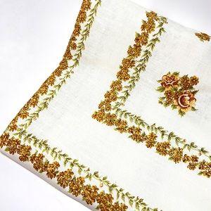 Vintage 70s floral square tablecloth
